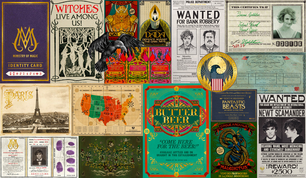 Collage of MinaLima 'Fantastic Beasts' graphic design