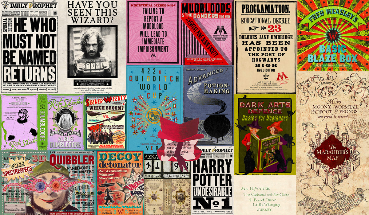 Collage of MinaLima 'Harry Potter' graphic design