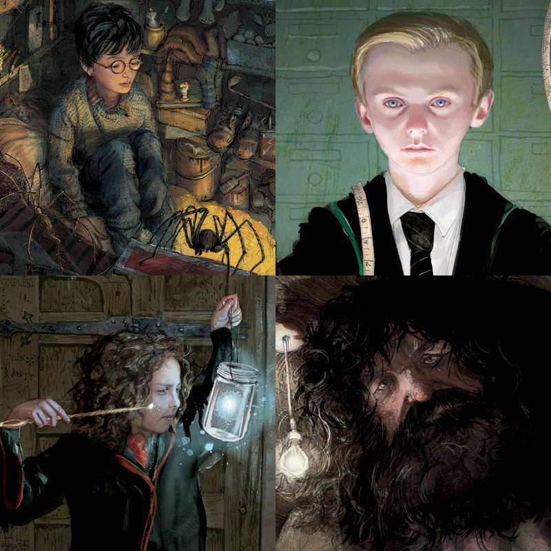 Artwork from the Harry Potter illustrated editions