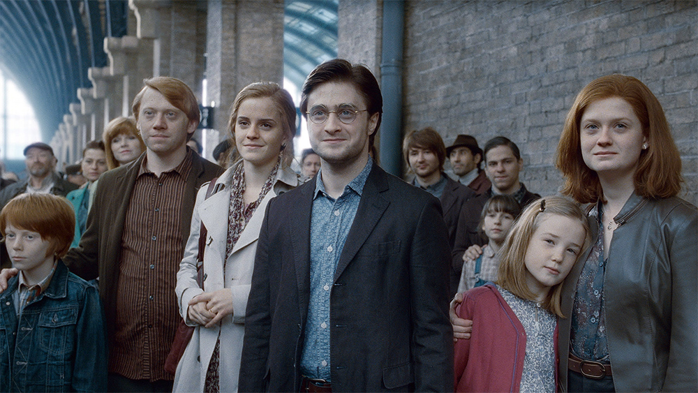 Harry, Ron, Hermione and Ginny, as pictured in the 'Deathly Hallows' epilogue
