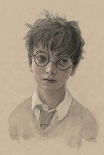 A sketch of Harry from the Philosopher's Stone illustrated edition
