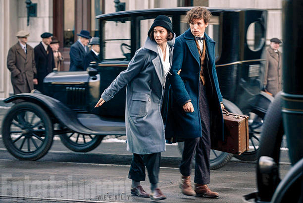Katherine Waterston (Tina) and Eddie Redmayne (Newt)